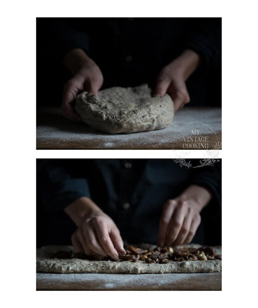 folding figs and hazelnuts into the bread dough