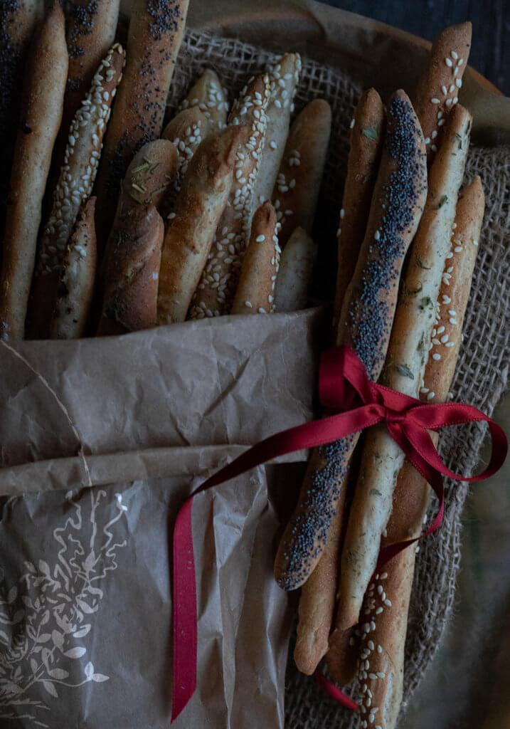 buttery and flavored homemade breadsticks for a christmas gift basket