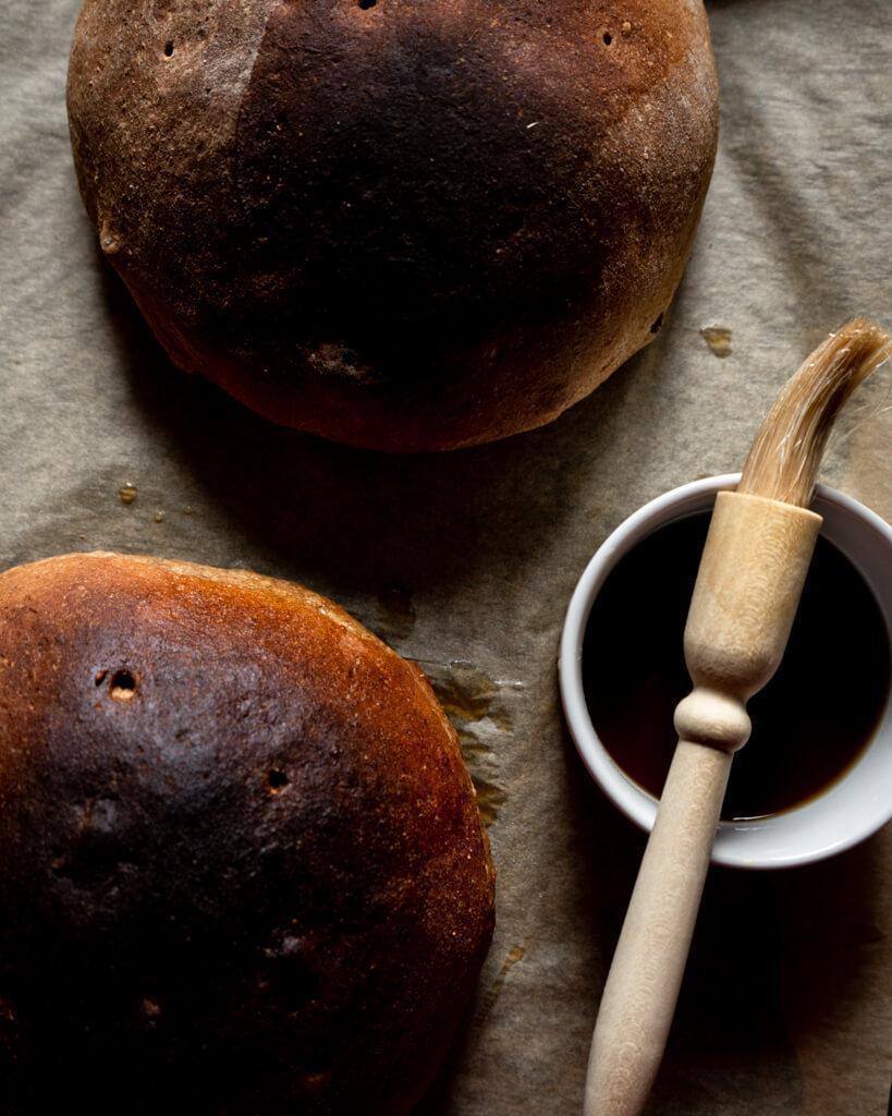 syrup wash glazing for bread