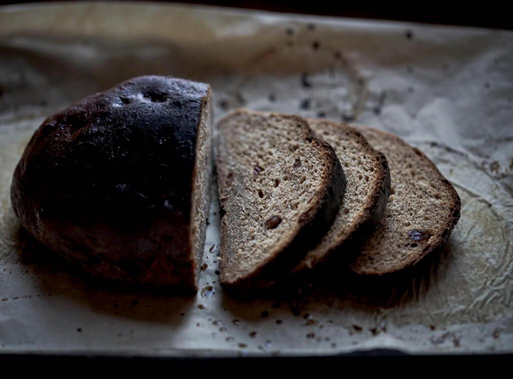 Malted rye bread crumbshot