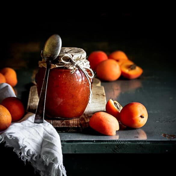Homemade spiced apricot jam