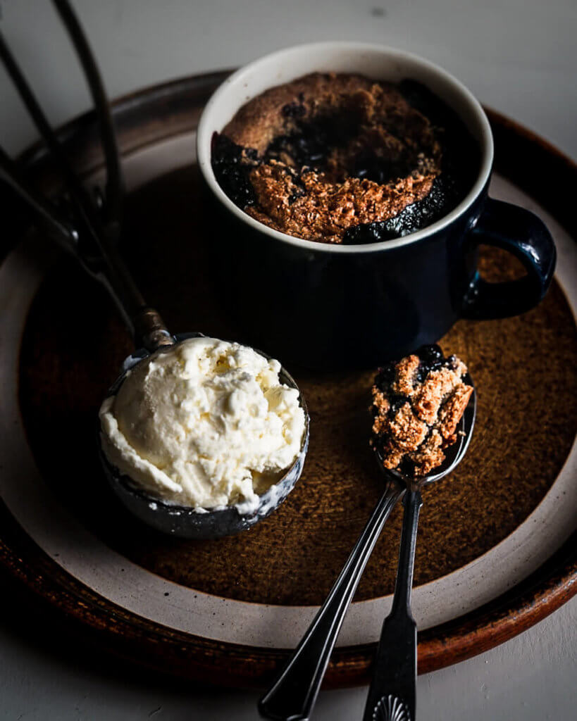 Making blueberry rye dessert in ramekins, mini cocottes or oven proof old coffee cups